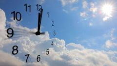 Clock and clouds, timelapse. Sun shines among the clouds Stock Footage