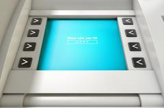 Stock Illustration of ATM Screen Enter PIN Code