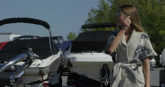 Party Lifestyle - Young people partying on a water ski sport boat in the summer Stock Footage