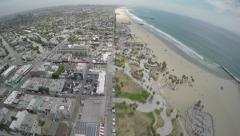 Venice Beach Coast Aerial Scenery Stock Footage