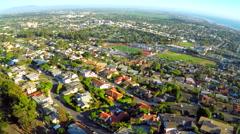 An aerial shot over the California coastal city of Ventura. Stock Footage