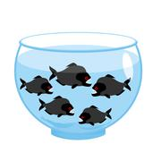 Aquarium with piranhas. Dangerous evil toothy fish. Scary Aquarium - stock illustration