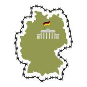 Stock Illustration of Map Of Germany. Map of States with barbed wire. Country closes border against