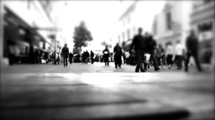 people walking on the busy street , rush hour and shopping day , - stock footage