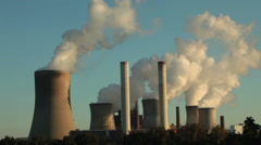 Coal fired electri powerstation - air pollution - stock footage
