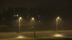 Storm night cyty road Stock Footage