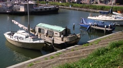 Hoorn harbor with old boats Stock Footage