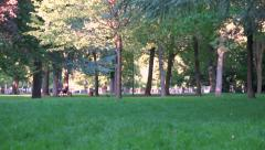 Public park, gardens - France - sunny autumn afternoon - panoramic shot 1 Stock Footage