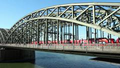 Hohenzollern bridge and Cologne dom cathedral Stock Footage