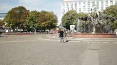 Neptune Fountain, Berlin Stock Footage
