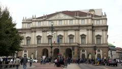 Stock Video Footage of La Scala Opera House Theater Theatre Monument Landmark Milan Italy