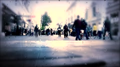 Abstract Image of Business People Walking on the Street and cityscape background Stock Footage
