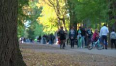 Public park, gardens - anonymous crowds, walkers, family - sunny - slow motion - stock footage