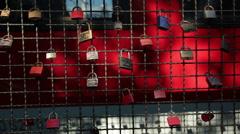 Love padlocks - Cologne, Germany Stock Footage