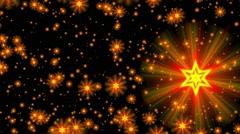 Yellow gold david stars flight starfield background loop Stock Footage