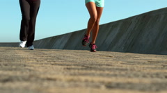 Two sporty women jogging together Stock Footage