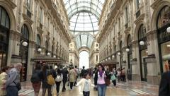 People Tourists Shopping Galleria Vittorio Emanuele Shops Stores Milano Italy - stock footage
