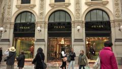 Shopping Prada Shop Store Italian Fashion Milan Milano Italy Italia Stock Footage