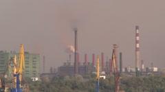 Smoking chimneys of plants - stock footage