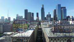 Downtown Los Angeles - Roof Top Signs Stock Footage