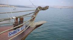 Wood Boat Beakhead Against Blue Water Stock Footage