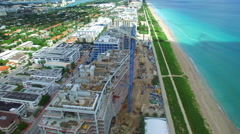 Shore Club and the Four Seasons aerial video sped up Stock Footage