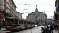 Traffic Street People In Piazza Cordusio Square Milan Italy Italia - stock footage