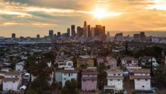 Los Angeles Skyline Seen from City Terrace (4K) Stock Footage
