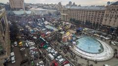 Kiev, Ukraine. Euromaidan. December 2013. Maidan Nezalezhnosti time lapse Stock Footage