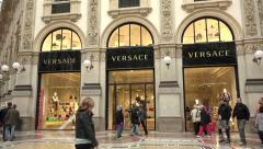 Versace Shop Store Italian Fashion Shopping Milan Milano Italy Italia Stock Footage