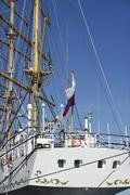 Russian sailing vessel on german coast at fehmarn Stock Photos