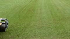 Restoration grass in a football stadium Stock Footage