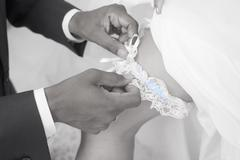 Wedding tradition wearing a Garter - stock photo