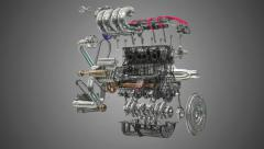 Stock Video Footage of Car Engine Assembling-disassembling Animation Loop
