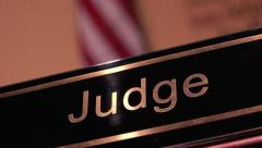 Judge desk in court room 4k Stock Footage
