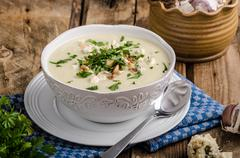 Cauliflower soup with blue cheese - stock photo