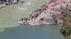 Devprayag , River Ganges. Uttarakhand, India. Stock Footage