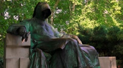 Statue of Anonymous in Budapest. 4K. Stock Footage