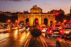 Puerta de Alcala at sunset in Madrid, Spain Stock Photos