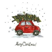Vintage vector winter greeting card with red retro car - stock illustration