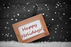 Picture Frame, Gray Background, Happy Holidays, Snow, Snowflakes - stock photo