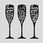 Champagne New Years lettering Stock Illustration