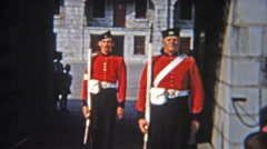 1956: Military soliders change of guard ceremony at the important castle. Stock Footage