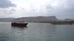 Ancient Boat On The Sea Of Galilee Stock Footage