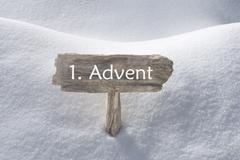 Sign With Snow 1 Advent Means Christmas Time Stock Photos
