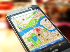 Mobile GPS navigation concept. Smartphone with city map on the screen. - stock illustration