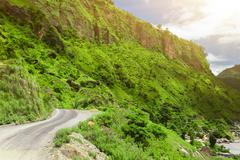 asphalt road in Nepal - stock photo
