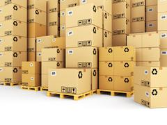 Delivery concept. Boxes on pallet. Space for text. Stock Illustration