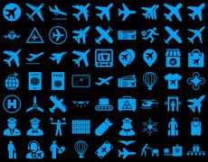 Aviation Icon Set Stock Illustration