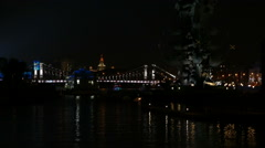 Moscow River in the center of the city at night in the fall  Stock Footage